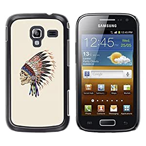 Eason Shop / Hard Slim Snap-On Case Cover Shell - Indian Feathers Skull Native American - For Samsung Galaxy Ace 2 I8160 Ace II X S7560M