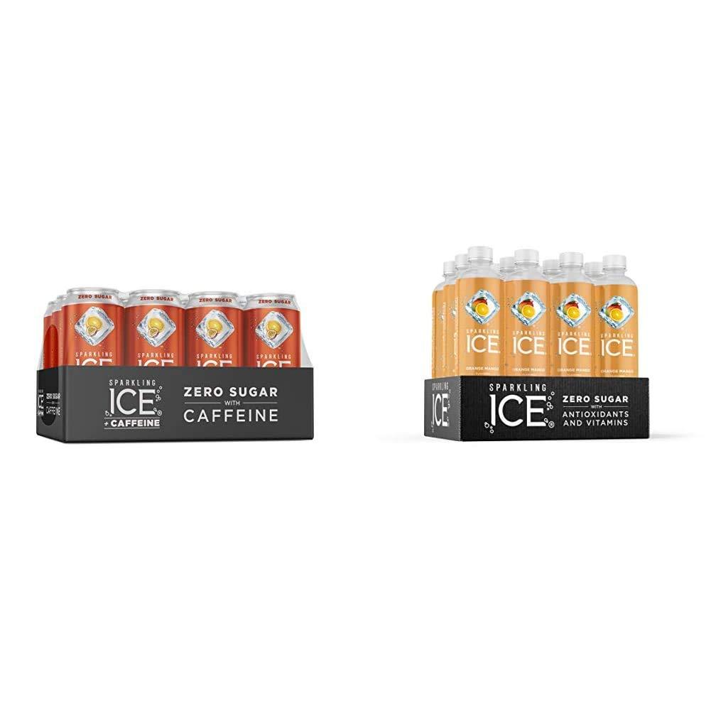 Sparkling Ice +Caffeine Orange Passion Fruit Sparkling Water, with Antioxidants and Vitamins, Zero Sugar, 16 fl oz Cans (Pack of 12) & Orange Mango Sparkling Water, 17 fl oz Bottles (Pack of 12)