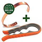 Earth Therapy Pure Copper Magnetic Bracelet Arthritis Pain Relief, Carpal Tunnel, RSI and More 18,000 Gauss For Maximum Treatment Healing For Men and Women (Jar Opener Combo)
