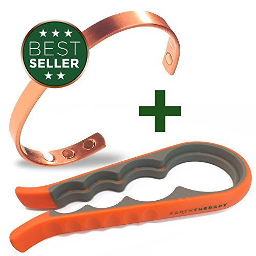 Earth Therapy, The Original Pure Copper Magnetic Bracelet and Jar Lid Opener Combo - Wellbeing Pack for Men and Women