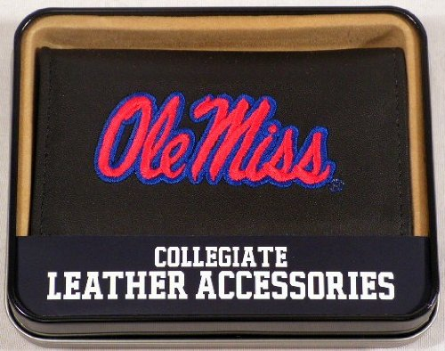 Rico Industries NCAA Mississippi Ole Miss Rebels Embroidered Leather Trifold Wallet
