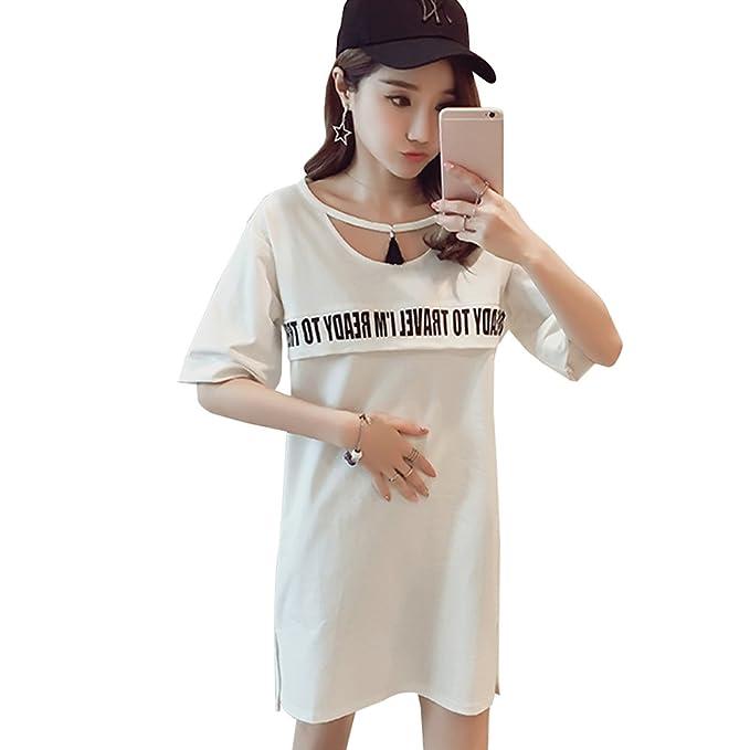BOZEVON Vestido Lactancia de Mujer Embarazo - Moda Clásico Premamá Blusa Maternidad de Manga Corta Verano
