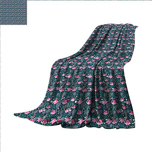 smallbeefly Flamingos Digital Printing Blanket Exotic Bird Pattern with Flowers Hearts and Raindrops Tropical Summer Quilt Comforter 62