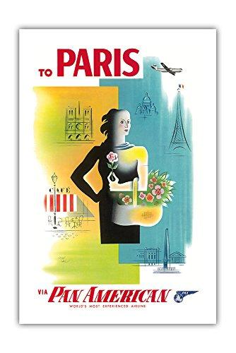 Paris, France - Pan American World Airways (PAA) - Eiffel Tower, Notre Dame PAN AM - Vintage Airline Travel Poster by Jean Carlu c.1950s - Premium 290gsm Giclée Art Print - 24in x 36in