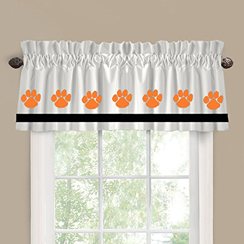 Tiger Paws (Clemson) School Colors Window Valance / Window Treatment - In Your Choice of Colors - Custom Made