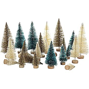 BELUPAID 24pcs Mini Sisal Snow Frost Christmas Trees with Wood Base Bottle Brush Trees,Plastic Ornaments Tabletop Pine Tree for DIY Room Decor Crafting and Displaying Decoration
