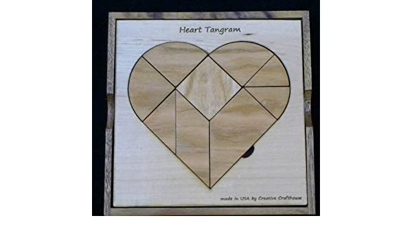 Heart Tangram 9 piece puzzle PREMIUM model from Maple Cherry with cover