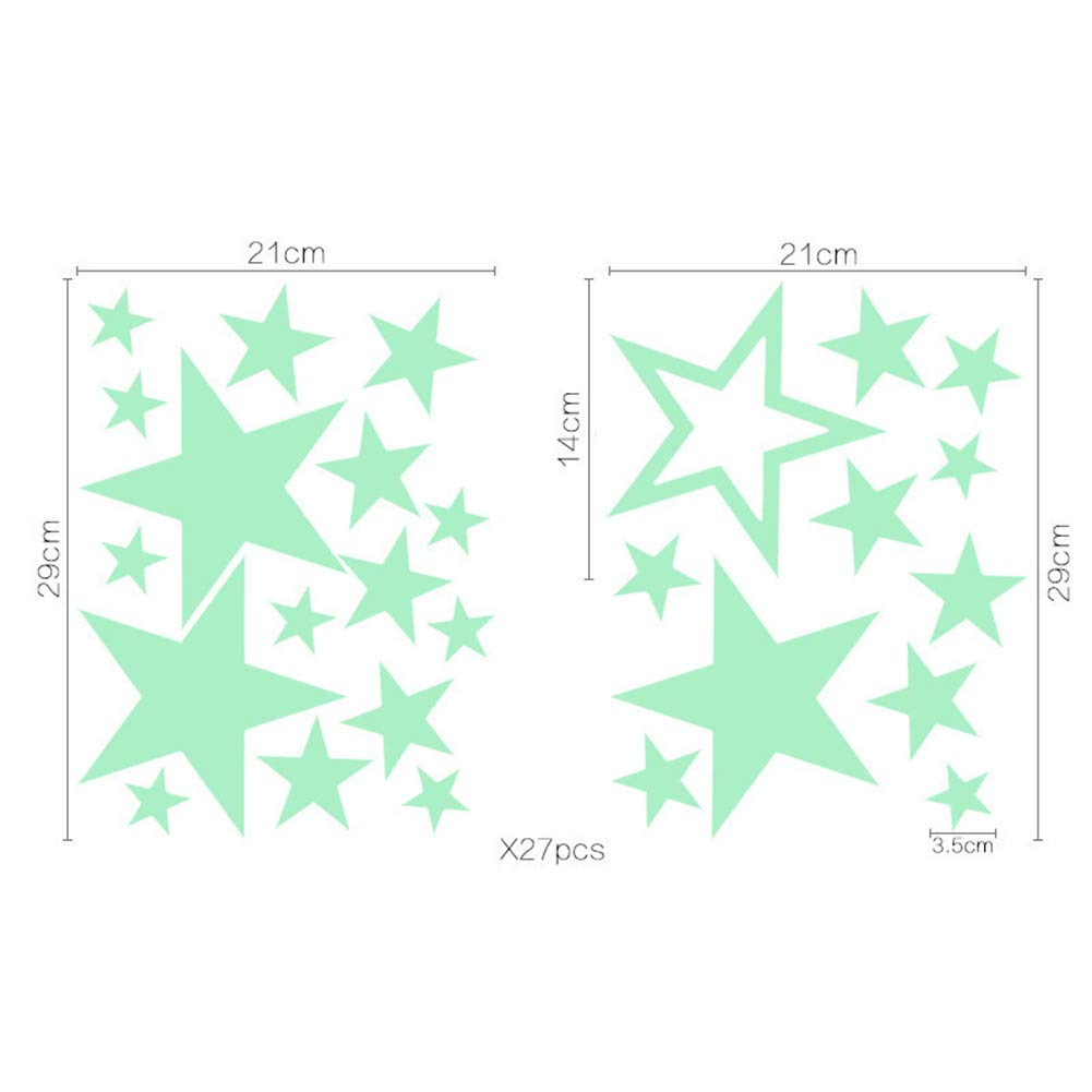 Stickers lumineux 26pcs /étoiles lune Stickers brillent dans les autocollants fluorescents fonc/és pour les enfants chambre p/épini/ère chambre Home Decor mural Stickers d/écoratifs