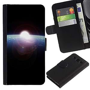 KingStore / Leather Etui en cuir / Samsung Galaxy S3 III I9300 / Tierra azul del planeta Sun Espacio Negro Cosmos