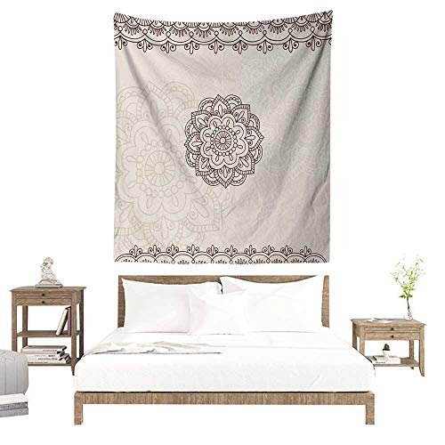 WilliamsDecor Polyester Tapestry Henna Geometrical Design with Swirls Lines Abstract Flower in Middle Asian Inspirations 57W x 74L INCH Suitable for Living Room, Bedroom, Beach ()