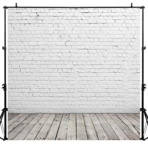 Allenjoy 8X8ft White Brick Wall Gray Wooden Floor Photo Background Valentines Day Photography Backdrops Product Portrait Shoot Photo Sudio Booth Photographer Props ()