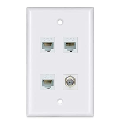 Remarkable Amazon Com 3 Ethernet Coax Wall Plate Cat6 Rj45 Coaxial Wall Wiring 101 Swasaxxcnl