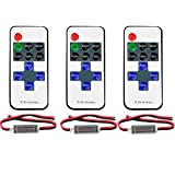 3 Pack Mini LED Controller Dimmer with 11 Key RF Wireless Remote Control Switch DC 12V 12A for Single Color 3528 5050 LED Strip Lights