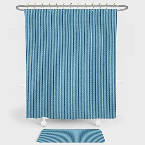 iPrint Blue Shower Curtain And Floor Mat Combination Set Vertical Modern Striped Pattern Border Seem Zig Zag Lines Artwork For decoration and daily use Sky Blue Navy Blue and White - Monster Truck Wall Border