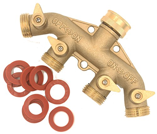 SOMMERLAND Heavy Duty Brass 4 Way Garden Hose Shut Off Connector (All Brass-1PK) Brass 4 Way Hose