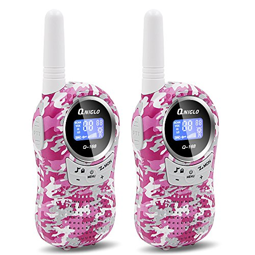 QNIGLO Walkie Talkies for Kids Two-Way Radio Long Range 22 Channels Mini Walkie Talkies Outdoor Camping Toys for Boys Girls (Camouflage Pink)