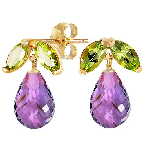 3.4 Carat 14k Solid Gold Stud Earrings with Natural Amethysts and Peridots