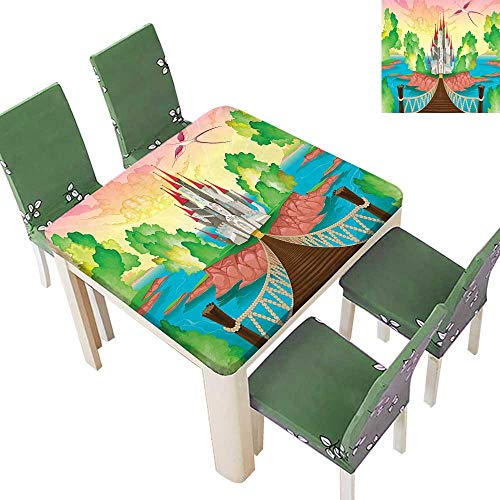(Printsonne Fitted Polyester Tablecloth Above Wooden Bridge Phoenix Fairy Dream World Girls Image Multico Washable for Tablecloth 23 x 23 Inch (Elastic Edge))