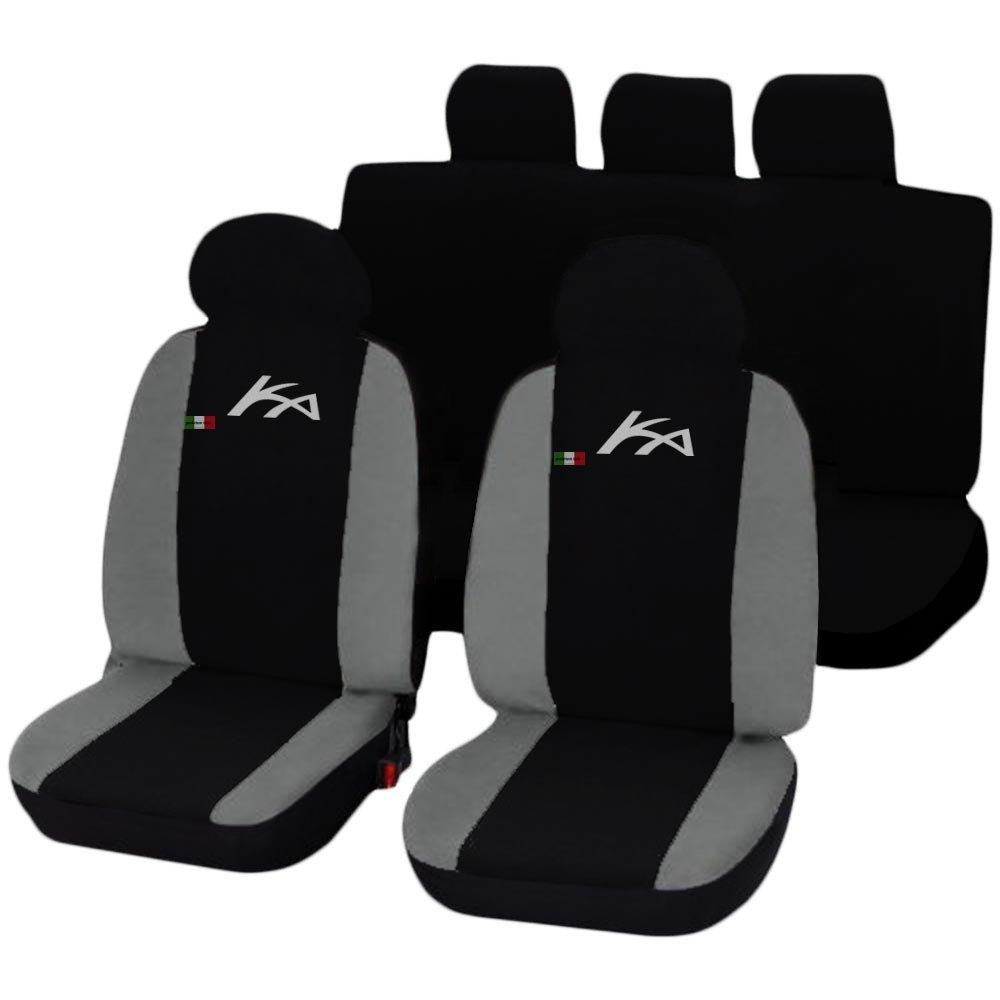 schwarz hellgrau Lupex Shop Ford Ka zweifarbige Sitzbez/üge