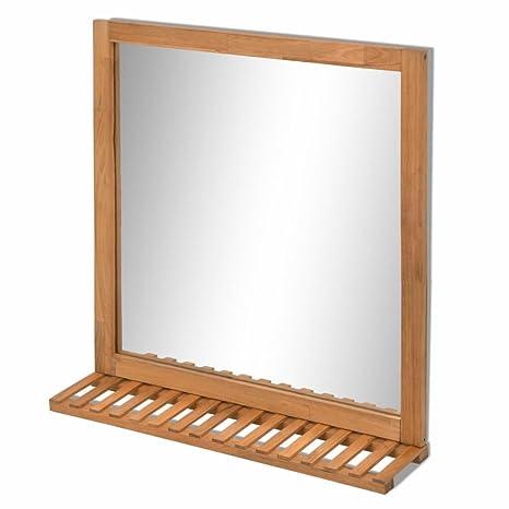 vidaXL Specchio da Bagno con Scaffale Toilette Arredo in Legno ...