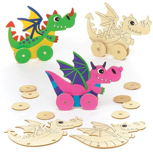 Baker Ross Dragon Wooden Racer Kits (Pack Of 4) For Kids To Make & Decorate
