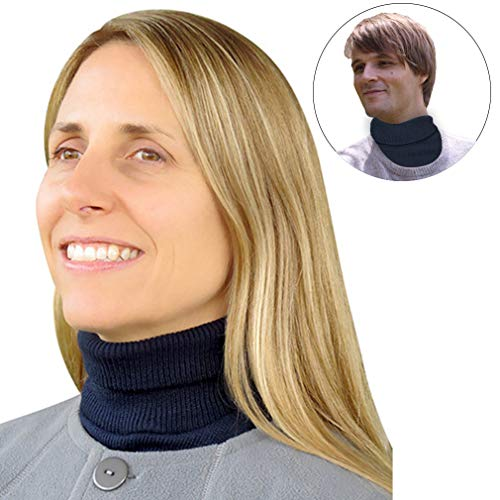 (Evelots Turtleneck Knit Dickey-Unisex-Wind Proof-Warm Neck/Chest-Navy-Grey)