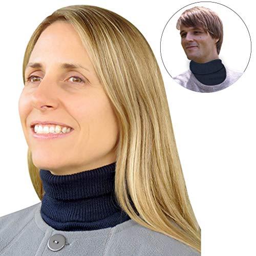 Evelots Turtleneck Knit Dickey-Unisex-Wind Proof-Warm Neck/Chest-Navy-Grey