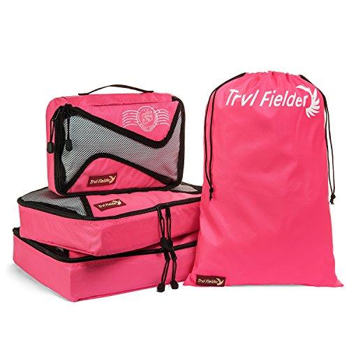 Trvl Fielder Packing Cubes Travel Cube Organizer Set Of 3 Packing Cubes + Drawstring Laundry Bag (Pink)