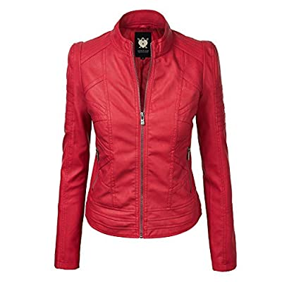 Lock and Love Women's Faux Leather Quilted Biker Jacket at Women's Coats Shop