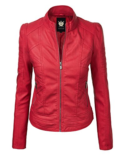 LL WJC746A Womens Vegan Leather Motorcycle Jacket L RED