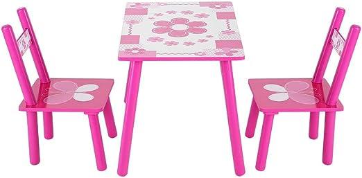 Juego de Mesa y 2 Sillas para Niños Muebles Infantiles Mesa Mesa infantil con 2 sillas para Pintar, Letra, Juego de Clase y casa de Madera: Amazon.es: Hogar