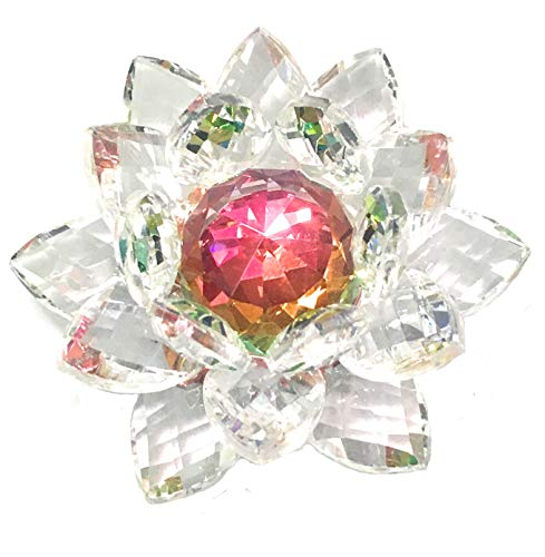 Amlong Crystal Hue Reflection Crystal Lotus Flower with Gift Box, Rainbow (4-Inch)