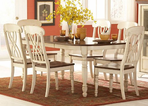 Homelegance Pottery (Homelegance Ohana 7 Piece Dining Table Set in White/Warm Cherry)
