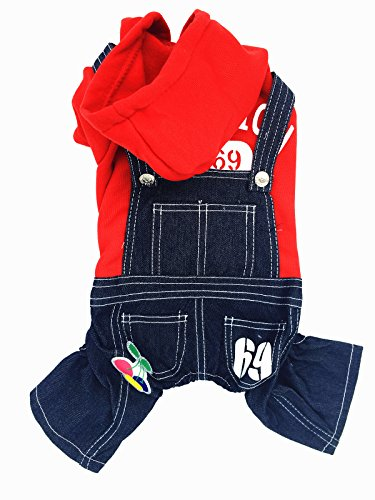 Gollyking Dog Hooded Overalls Jumpsuit Costume False Two-piece Style With Jeans Pants Spring Autumn Outfits For Small Girl Puppy Cats Pets (Cherry Jeans Red,L for back length12