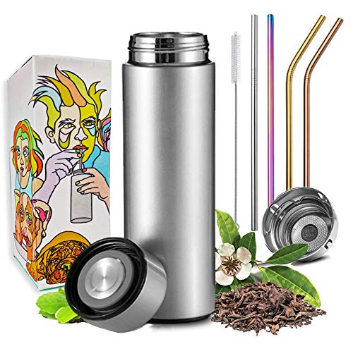 Travel Mug with Multi Colored Metal Straw Set - Tea Infuser Bottle - Insulated HOT Coffee Thermos - Cold Fruit Infused Water Flask - Food Grade Leak Proof Tumbler Double Wall Stainless Steel 16.9 oz