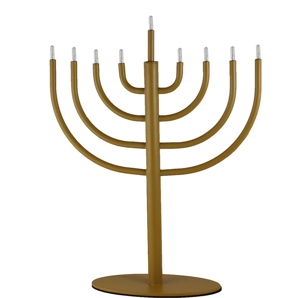 Zion Judaica Low Voltage Electric Hanukkah Menorah (Gold) Zion Judaica Ltd ZJ-EM58