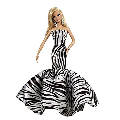 - Peregrine Silk Satin zebra print Strapless Fit and Flare Floor Length Fishtail Gown Fits for Barbie Doll