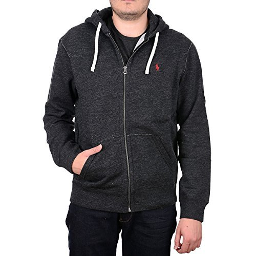 Polo Ralph Lauren Mens Classic Full-Zip Fleece Hoodie (Black Heather, Large) by Polo Ralph Lauren