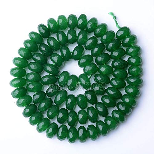 """FidgetFidget Natural 5X8mm Faceted Green Jade Rondelle Abacus Loose Beads 15"""" AAA"""