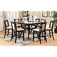 Furniture of America Dalcroze 9-Piece Modern Faux Marble Top Pub Dining Set, Dark Cherry