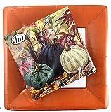 Pumpkin Garden Ideal Home Range 20 Fall Lunch Napkins + 8 Terracotta Classic Linen Dinner Plates | Party Set