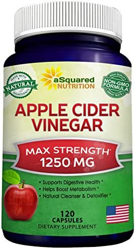 Pure Apple Cider Vinegar Supplement (120 Capsules) - Extra Strength 1250mg - ACV Pills for Weight Loss, Detox & Digestion Support - All Natural Apple Cider Cleanse for Men & Women