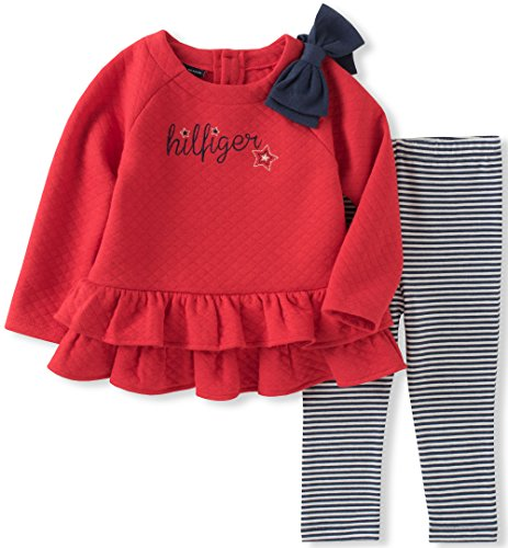 Tommy Hilfiger Baby Girls' Tunic Legging Set, red tick/Blue Malt, 12M
