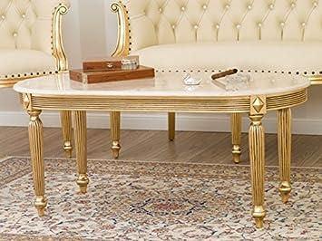 couchtisch barock französisch blatt gold marmor creme: amazon.de ... - Küche Auf Französisch