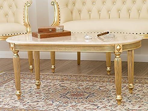 Couchtisch Isabelle Barock Französisch Blatt Gold Marmor Creme