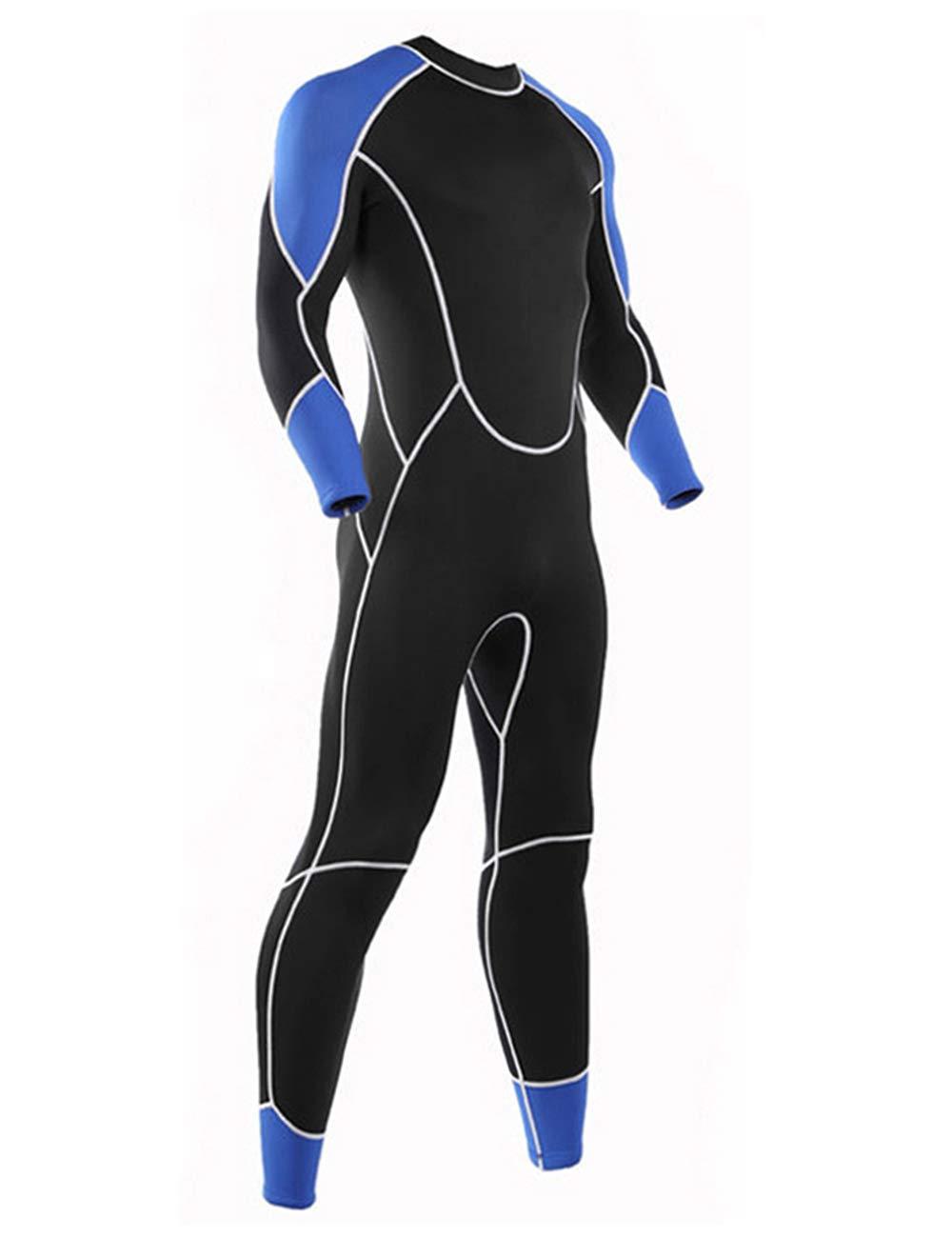 Niiwi メンズ フルウェットスーツ - 2.5mm プレミアムネオプレン ダイビングスーツ シュノーケリング サーフィン ジャンプスーツ B07JNH6C71 ブルー/ブラック Medium Medium|ブルー/ブラック
