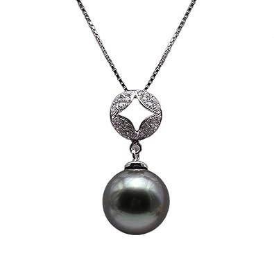 collier perle noire femme