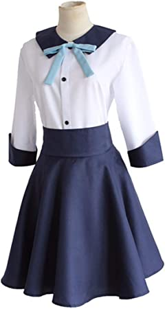 YKJ Traje de Cosplay de Anime Camisa Blanca Falda Azul Traje de Fiesta de Mujer Completo,Full Set-L: Amazon.es: Hogar