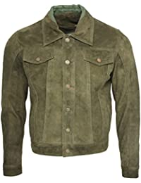 Men's Trucker Casual Khaki Goat Suede Leather Shirt Jeans Jacke