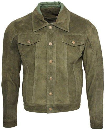 Men's Trucker Casual Khaki Goat Suede Leather Shirt Jeans Jacket L (Goat Suede)